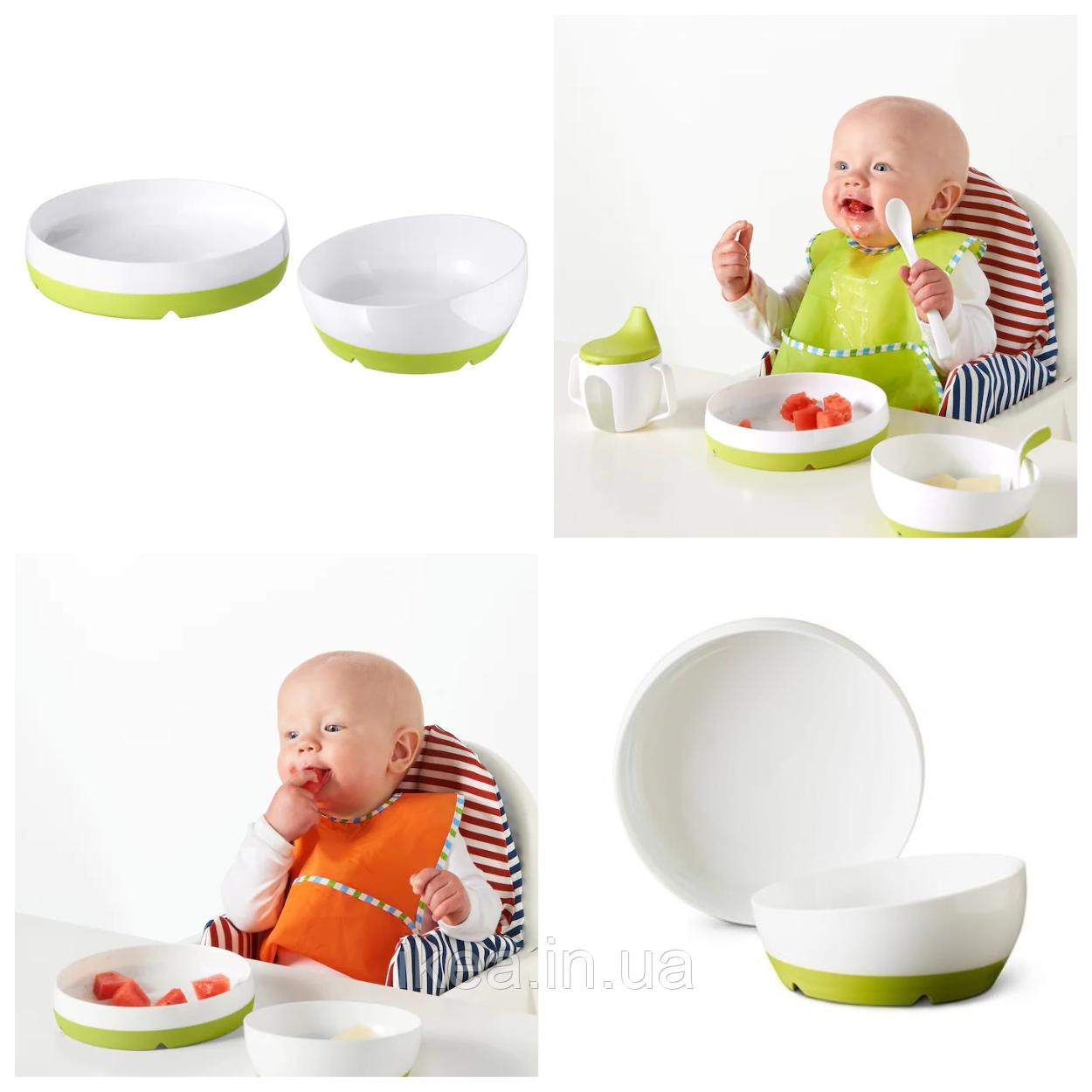 Набор детской пластиковой посуды для кормления малыша IKEA SMÅGLI бело-зелёная тарелка / миска ИКЕА СМОГЛІ