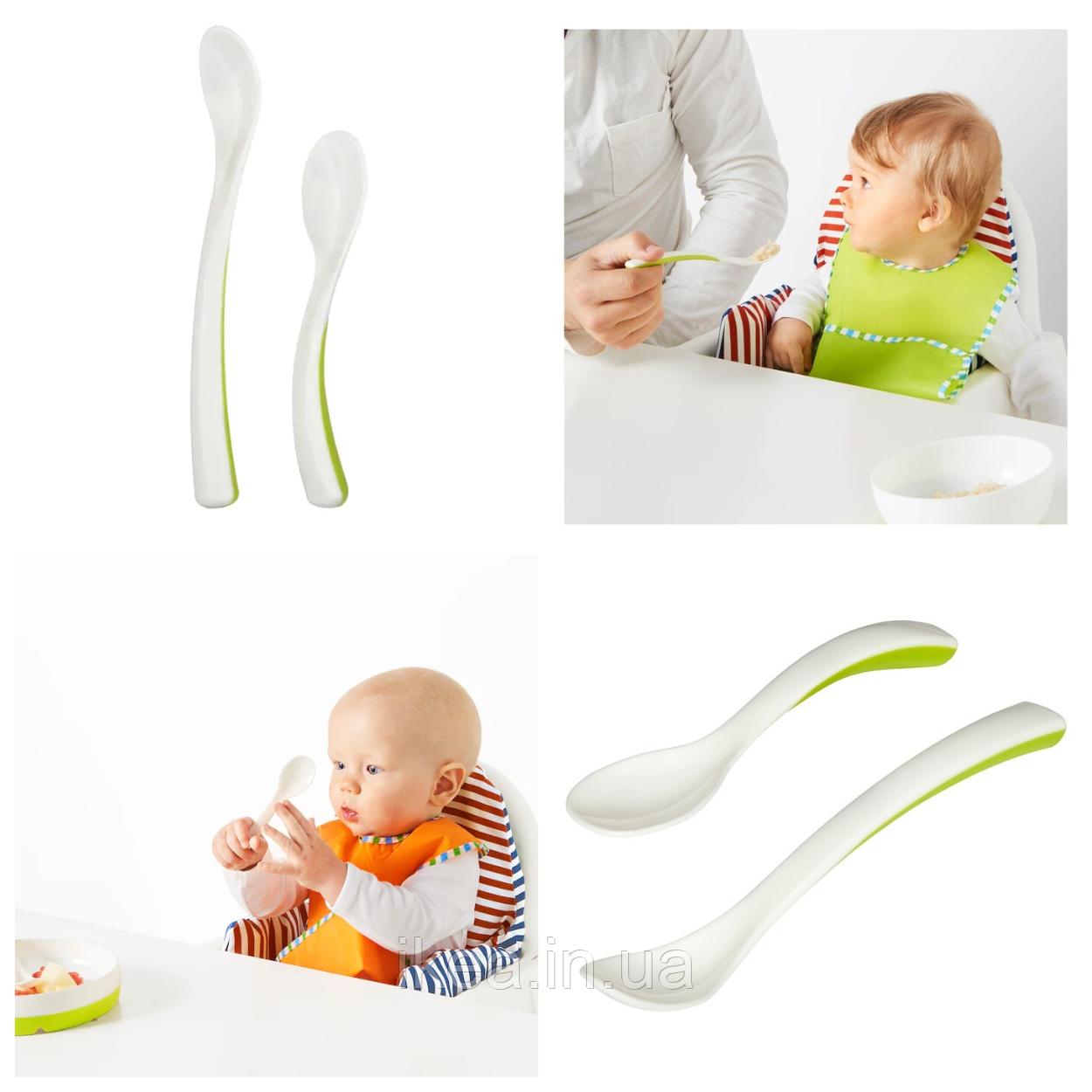 Набор детских пластиковых ложек для кормления малыша IKEA BÖRJA бело-зелёная ложка ИКЕА БОРЬЯ