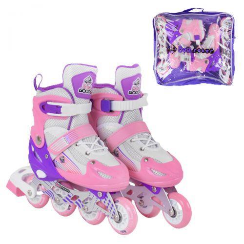 """Роликовые коньки 30 размер, раздвижные, с подсветкой """"Best Roller"""" S, розовый 30044-S"""