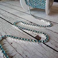Стразовая лента ss6 2мм голубая в серебре с-5 16406