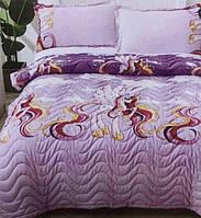 Детское одеяло покрывало полуторное с наволочкой 50*70 Единорог