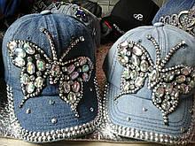 Кепка джинсовая гламурная бабочка