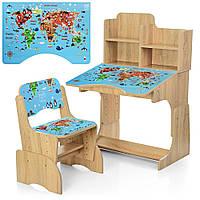 Детская парта со стульчиком и надстройкой карта мира Bambi B 2071-45-3(EN)