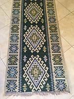 Доріжка килим Двохстороння котон зелена 200*76 См
