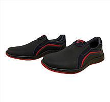 Туфлі мокасини чоловічі чорні на червоній підошві 40 розмір, фото 2