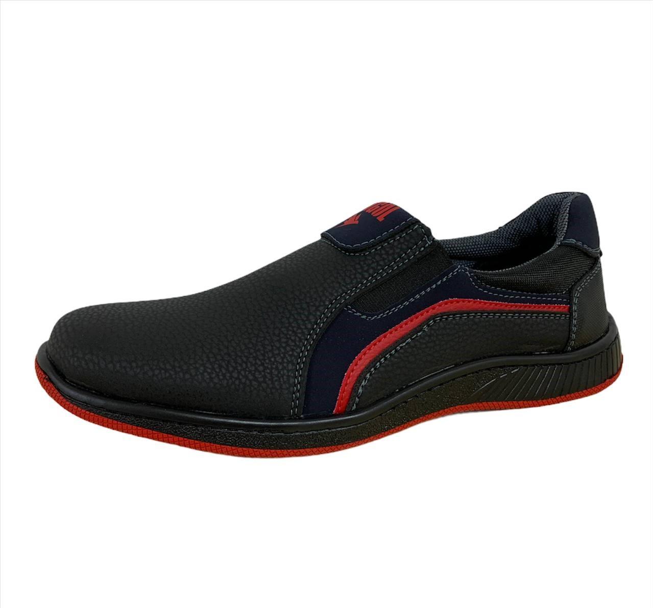 Туфли мокасины мужские черные на красной подошве