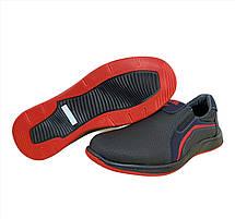 Туфли мокасины мужские черные на красной подошве, фото 3