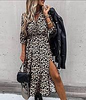 Женское красивое Молодёжное длинное платье в леопардовый принт с боковым разрезом .Новое поступление