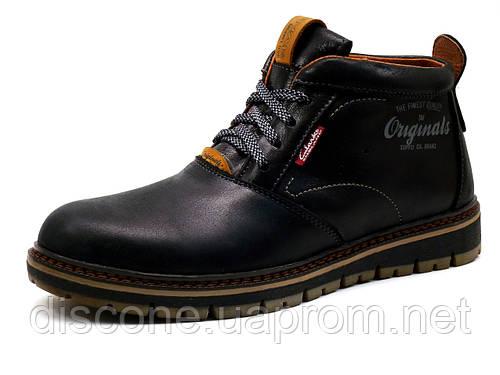 Ботинки Clarks Desert, мужские, натуральная кожа, на меху, черные