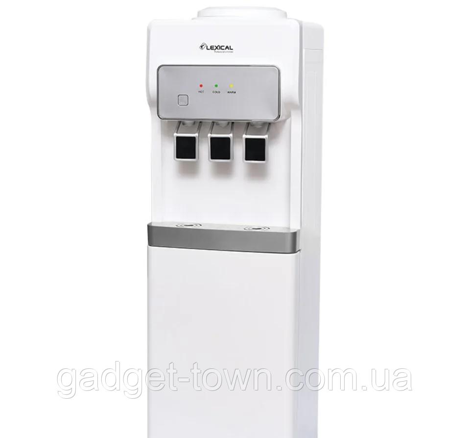 Кулер для води Lexical підлоговий компресорний охолодження/нагрів 550W/90W білий