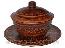 Глиняный духовой горшок (жульен)  600 мл з блюдцем