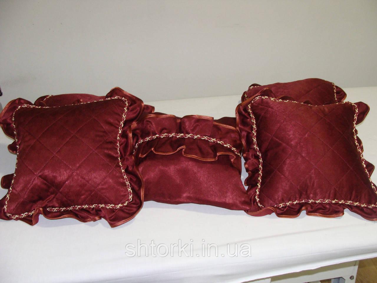 Комплект подушек  бордовые с шнуром, 5шт