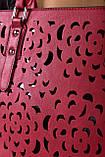 Жіноча бордова сумка з перфорованим малюнком код 7-875, фото 4