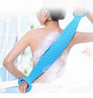 ОПТ Двухсторонняя силиконовая мочалка-массажер для тела Silica Gel Bath Brush голубая, фото 7