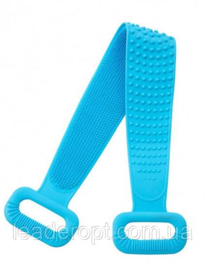ОПТ Двухсторонняя силиконовая мочалка-массажер для тела Silica Gel Bath Brush голубая