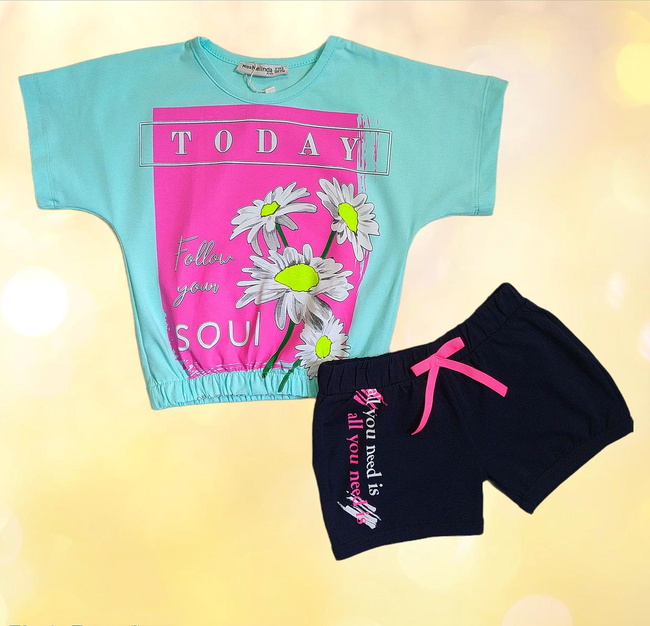Костюм для девочки летний футболка и шорты Размер 110
