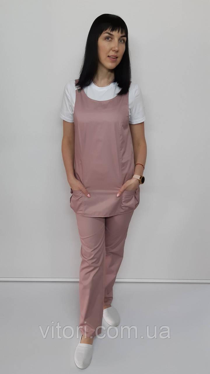 Жіночий медичний костюм Заріна коттон біла футболка