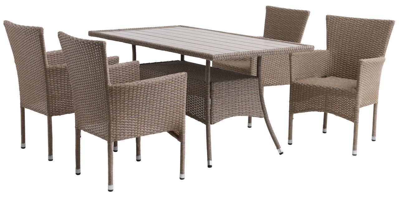 Комплект садовой плетеной мебели натура (петан 4 кресла и стол 150 см)