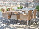 Комплект садовой плетеной мебели натура (петан 4 кресла и стол 150 см), фото 2