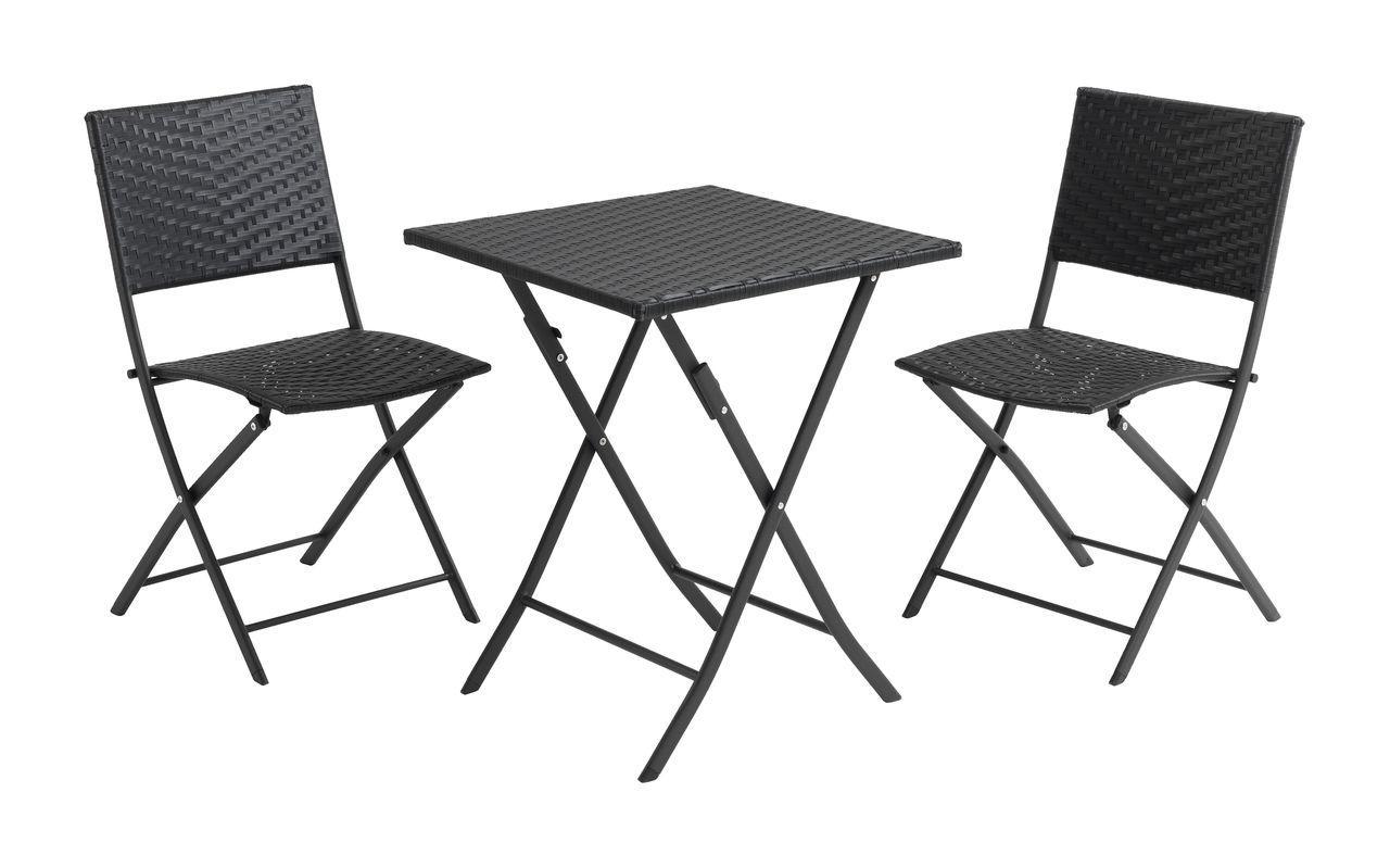Комплект садових складних меблів плетених чорної (Петан) 2 складних стільця і складаний квадратний столик