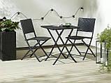 Комплект садових складних меблів плетених чорної (Петан) 2 складних стільця і складаний квадратний столик, фото 3
