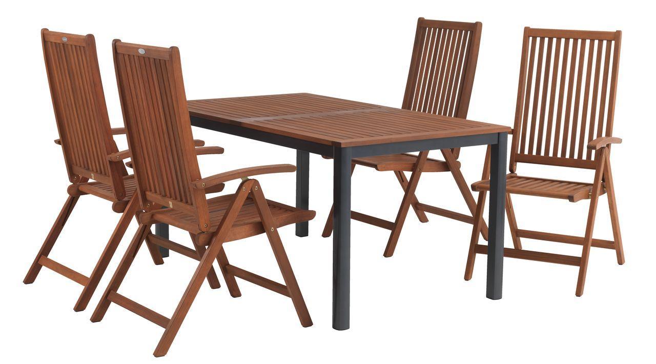 Комплект садових меблів з дерева (4 крісла складних Хардвуд і столик 150 см)