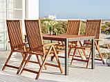 Комплект садових меблів з дерева (4 крісла складних Хардвуд і столик 150 см), фото 3