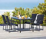 Набор садовой мебели черной (4 стула плетеных петан  и стол 140 см), фото 2
