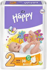 Дитячі пелюшки, підгузки Bella Happy Mini 2 (3-6 кг) 38 шт.