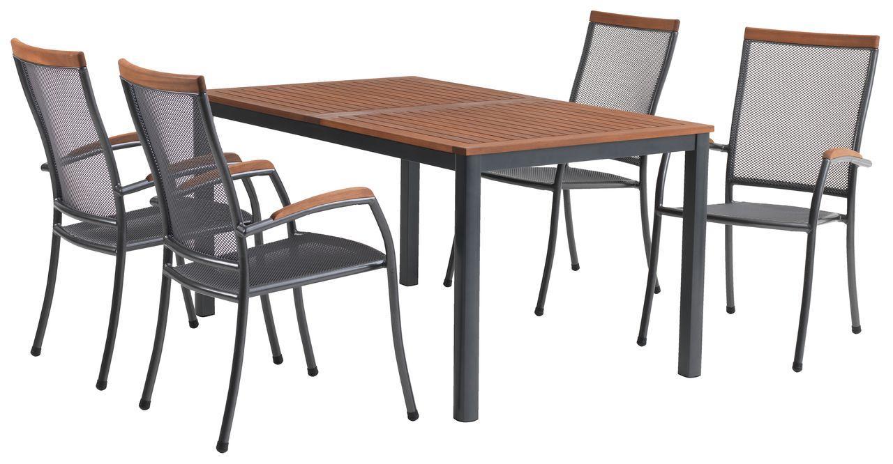 Комплект садових меблів (4 крісла зі сталі і столик Хардвуд 150 см)