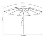 Садовий велику парасольку від сонця з функцією нахилу з основою з дерева (Хардвуд) (3 метра), фото 4