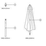 Садовий велику парасольку від сонця з функцією нахилу з основою з дерева (Хардвуд) (3 метра), фото 5