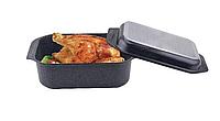 Гусятница для духовки 8л с крышкой из литого алюминия Edenberg с антипригарным мраморным покрытием EB-4611