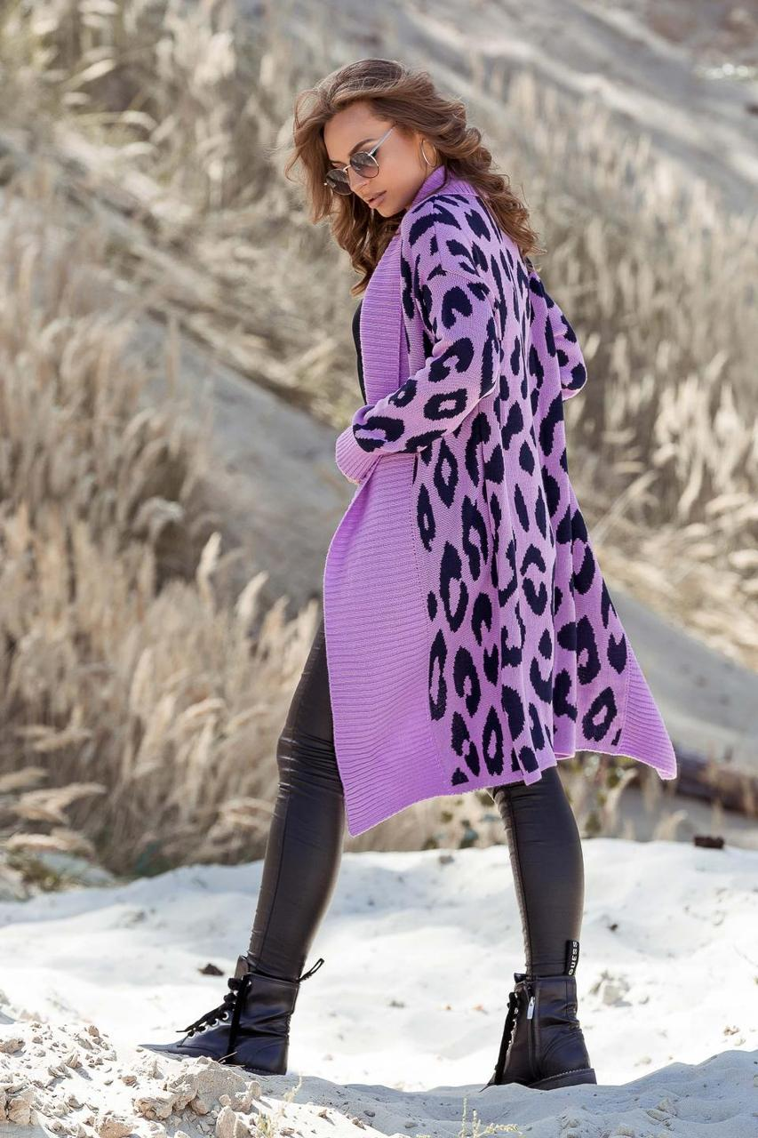 Вязаное пальто с леопардовым принтом Лео лаванда