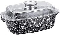 Гусятница для духовки из алюминия 4.5 л с овальной крышкой и гранитным покрытием Edenberg EB-4601