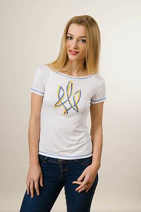 Жіноча патріотична вишита футболка білого кольору «Тризуб», фото 2