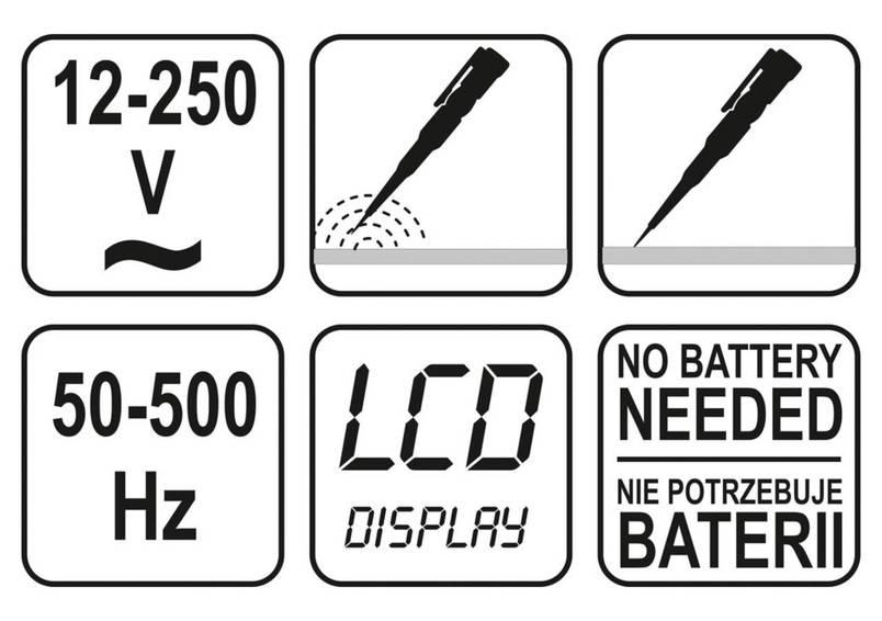 Индикатор напряжения цифровой YATO 12-250 В, фото 2