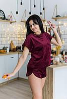 Велюровая женская пижама, домашний костюм шорты и футболка цвет бордо (плюш на котоновой основе)