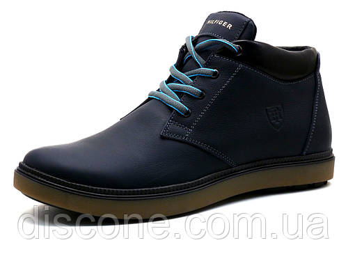 Ботинки зимние H.Denim мужские, темно-синие, кожаные