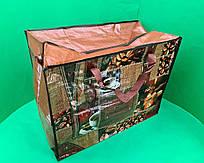 Сумка хозяйственная , полипропиленовая,  с цветным рисунком  №4 Кофе (10 шт)