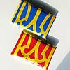 Прапор України і прапор ОУН-УПА з гербом , набір з двох прапорів , габардин , 134×90 див.