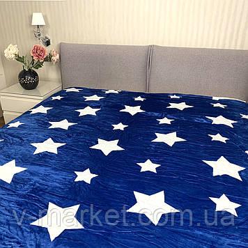 """Плед синій """"зірки"""" євро розмір, 200/220 см"""