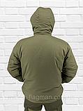 """Чоловіча Зимова Куртка """"Олива Хакі"""" на гумці з капюшоном (фліс), фото 2"""