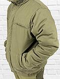 """Чоловіча Зимова Куртка """"Олива Хакі"""" на гумці з капюшоном (фліс), фото 4"""
