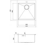 Кухонная мойка из нержавеющей стали 450x505 мм. AquaSanita LUN100X, фото 2