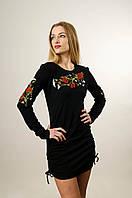 Вишита жіноча туніука чорного кольору із довгим рукавом «Польовий букет», фото 1