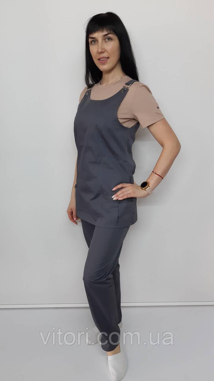 Женский медицинский костюм Зарина хлопок бежевая футболка