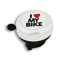 Звонок Green Cycle GCB-1051A-BK I love my bike cтальной белый