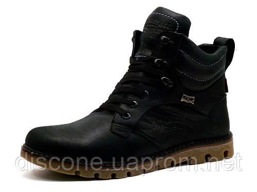 Ботинки Levi's, высокие, мужские, натуральная кожа, черные