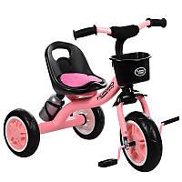 Трехколесный велосипед с корзинкой Turbo Trike M 3197-7, бутылка, накладка на сиденье, нежно розовый